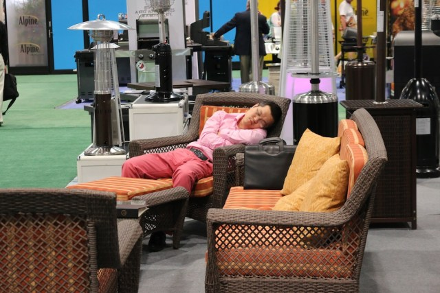 Shows can be exhausting! Testing out the display at the National Furniture Show. Photo: Lisa Stewart Photography