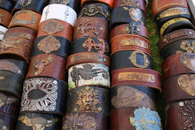 Cuffs made out of old belts by Bombshell Betty. Photo: Lisa Stewart Photography
