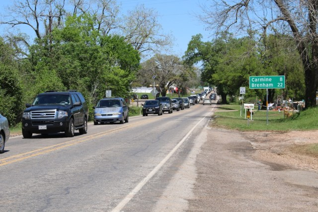 Traffic stretches for miles at Round Top Antique Fair. Photo: Lisa Stewart Photography