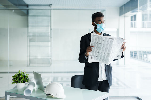 Office space with mask on