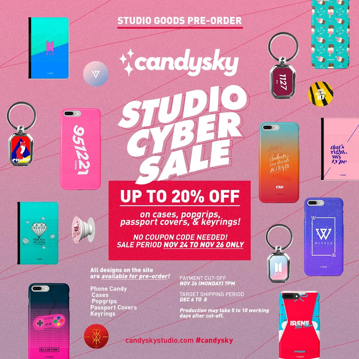 [SALE ALERT!] STUDIO CYBER SALE is on-going! Discounts on cases, popgrips, keyrings & passport covers!