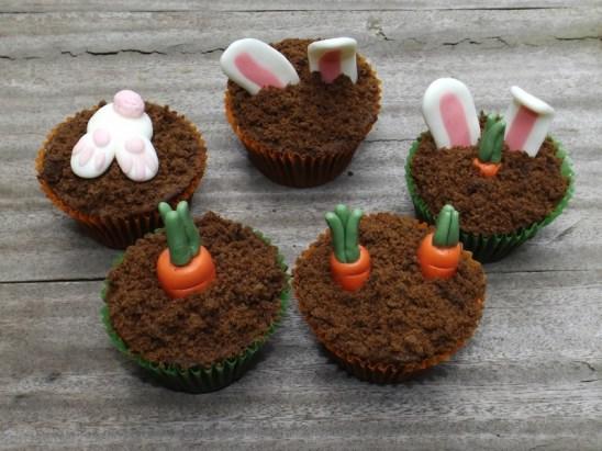 Les cupcakes carottes et lapins de Pâques