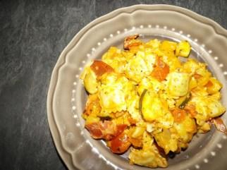 Ravioles poêlés à l'italienne ( courgette, gorgonzola et coppa )3