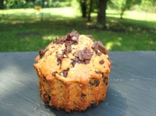 Muffins au beurre de cacahuètes et aux pépites de chocolat