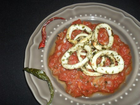 Anneaux d'encornets à la sauce arriabata2