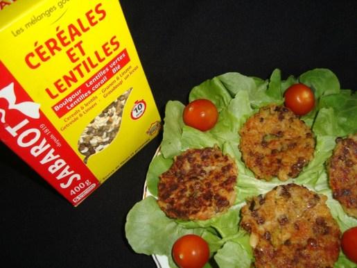 Galettes de céréales et de lentilles aux petits légumes ( courgette et tomate ) ( Recette Veggie )2