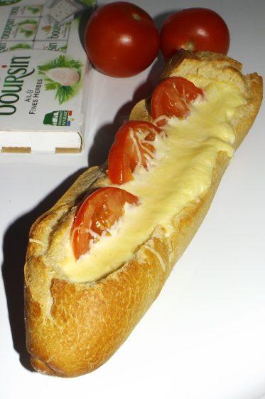 Baguet'quiche au Boursin et aux tomates2