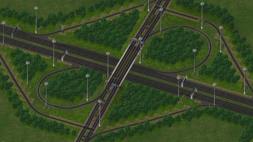 digitalized imagery of the partial cloverleaf interchange for highways