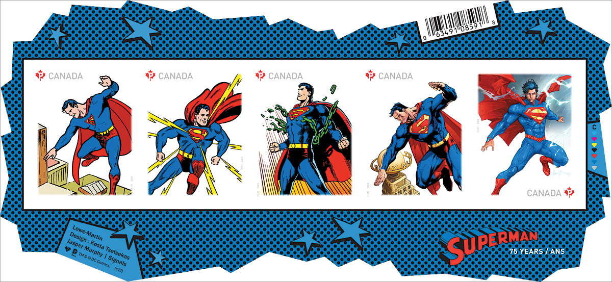 A series of Canada Post stamps in 2013 to honour Superman's Canadian origina © Canada Post