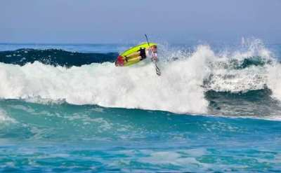 Marty is pictured below during the opening Waveski World Series event in South Africa