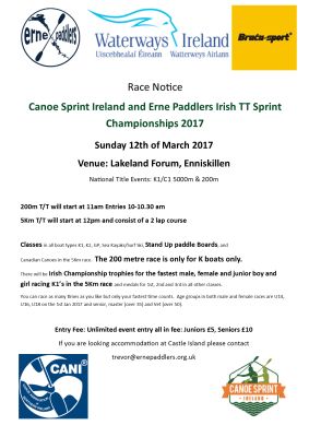 Canoe Sprint Ireland and Erne Paddlers Irish TT Sprint Championships 2017 @ Lakeland Forum, Enniskillen