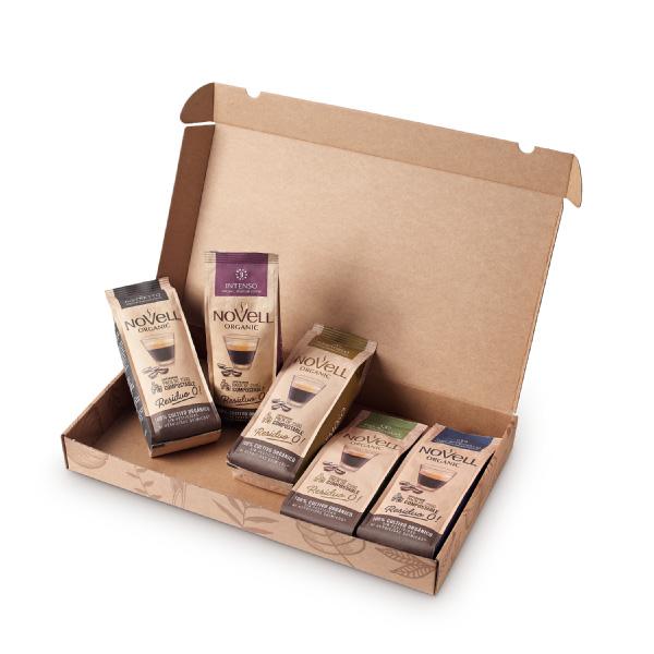 Novell biologische koffiebonen in volledig composteerbare verpakking