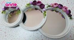 İncili, Taşlı, Çiçekli Dekoratif 3'lü Ayna Seti Yapılışı - Kendin Yap -DIY