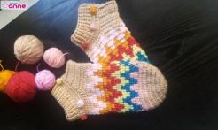 Örgü zigzag çorap yapımı
