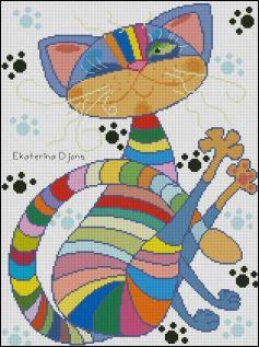 Kanaviçe (Etamin) Kedi Şablonları (31)