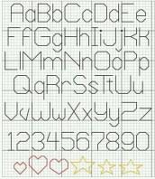 Kanaviçe, etamin alfabe, harf ve rakam şablonu (35)