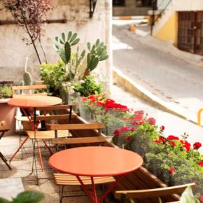 Outdoor seating at Cuma café in Cukurcuma
