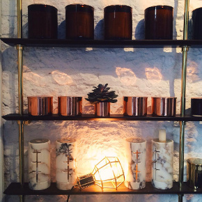 Shelves of natural NYKS candles in their Galata store