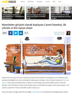 Screenshot of Webrazzi article on Canım Istanbul