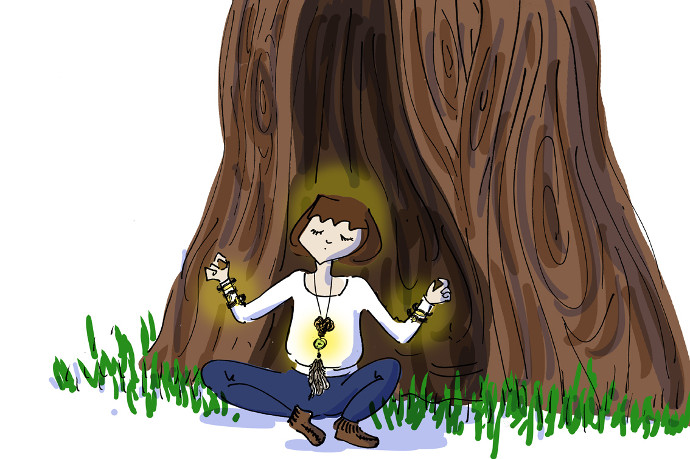 Girl sitting by tree with Tohum piece on
