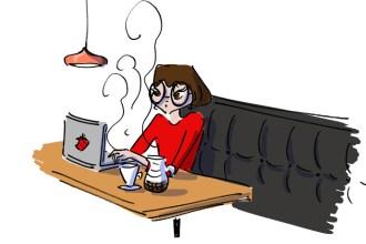 Girl working at Cup of Joy, great coffee shop in Bebek