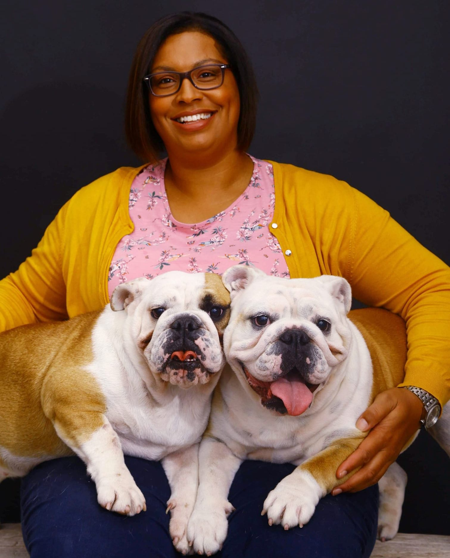 Sara with two Bulldogs