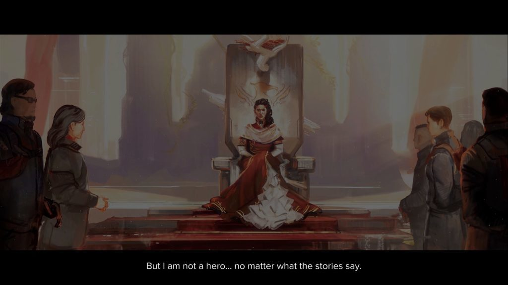 Ruler of Battle tech world in a dress, sitting on a throne speaking to an audience.