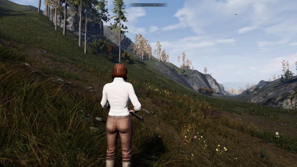 Auburn haired woman standing in grass looking toward small mountain.