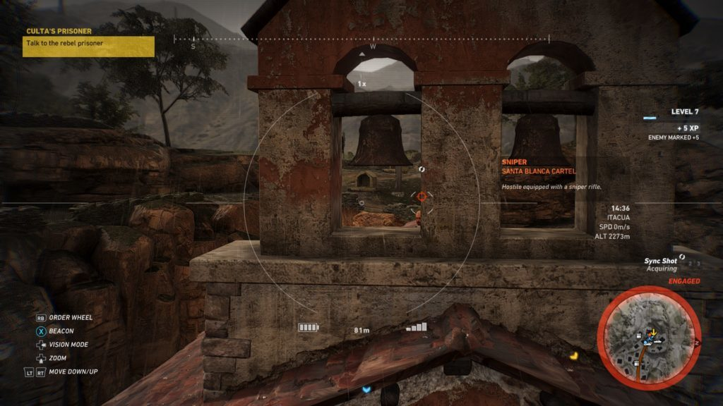 Enemy hiding in bell tower. Bullseye icon above him indicating he's a sniper.