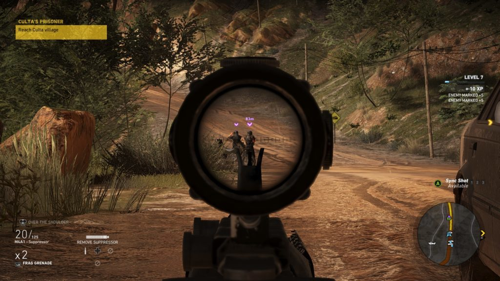 Sniper rifle scope centered on two enemies. Icons indicating enemy type and distance from player show above them.