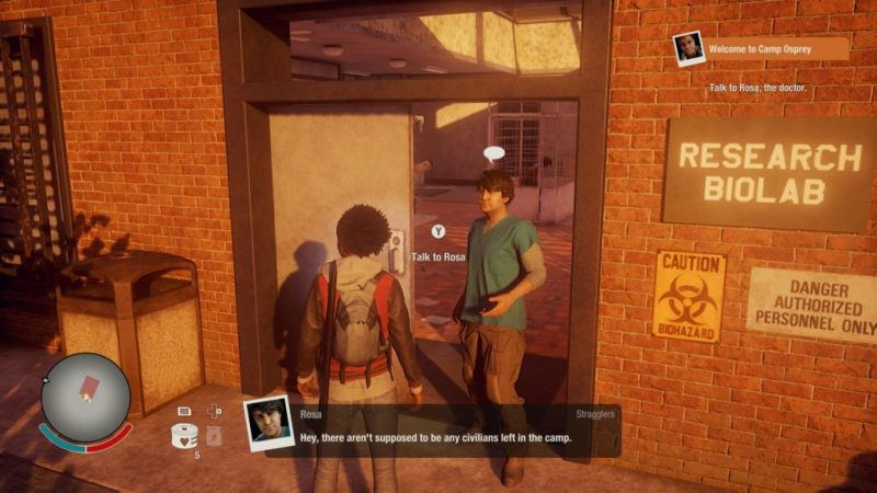 Player character talking to NPC outside of research lab in tutorial mission.