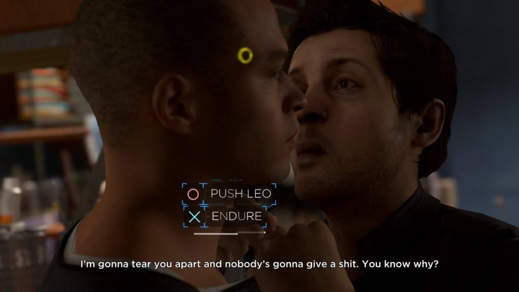 """QTE """"Push Leo"""" or """"Endure"""" showing two men in a confrontation."""