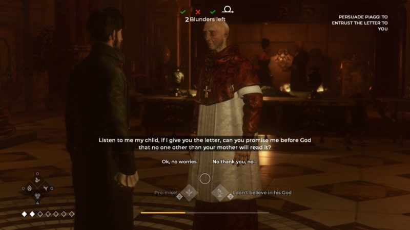 QTE dialogue options. Main character and religious man shown.