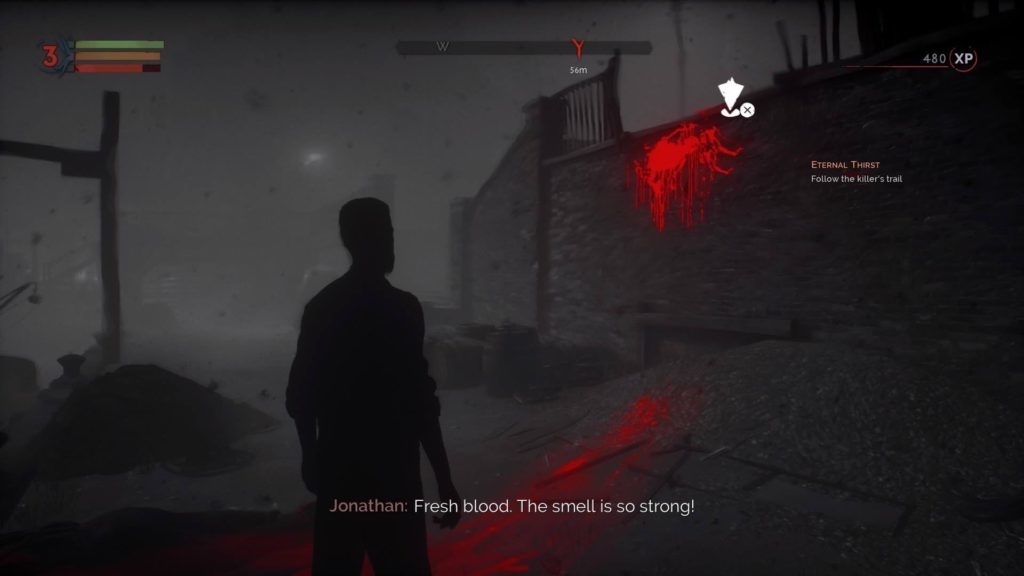 Jonathan in vampire sight mode. Bright red blood train shows path to objective.
