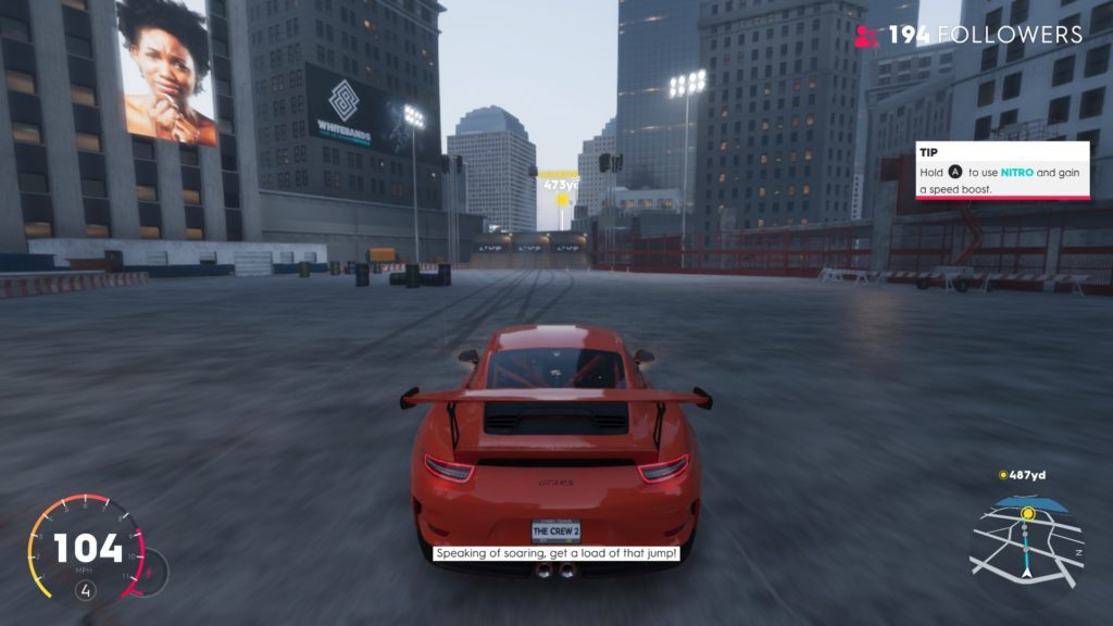 Racing scene with red sports car