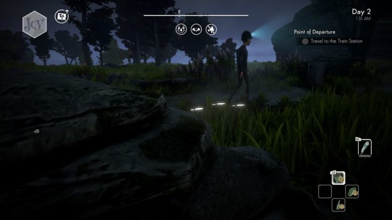 Patrol officer with a light on his helmet walking past hidden player character.