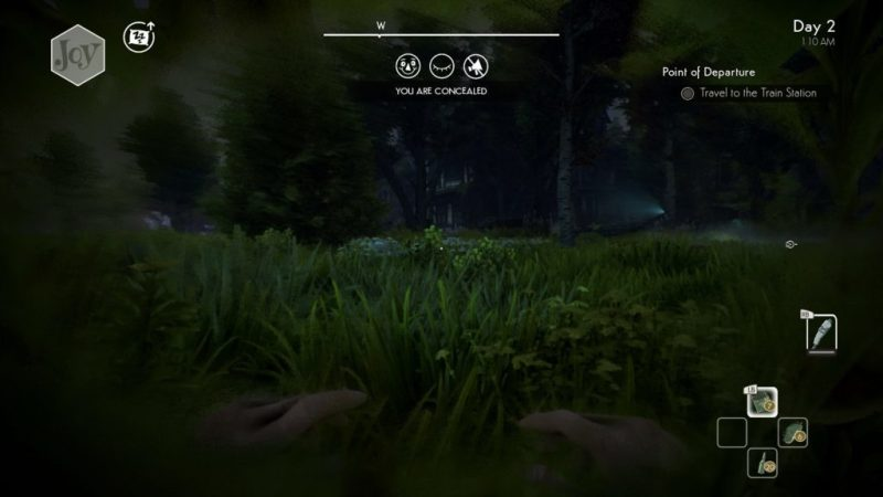 Player character sneaking in grassy area.