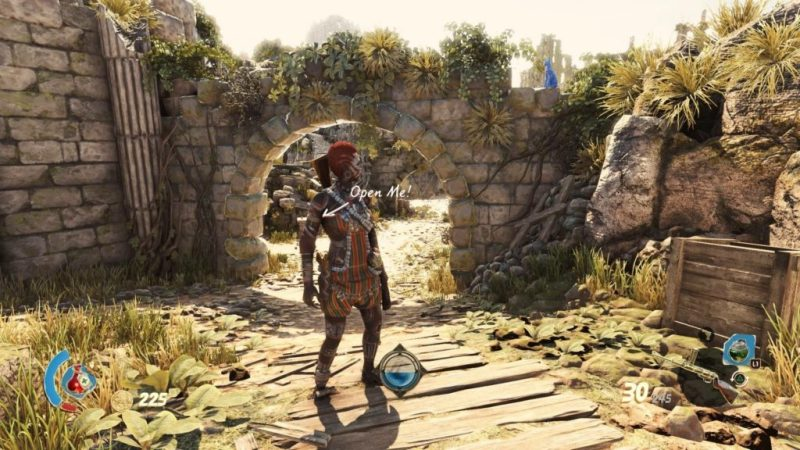 Player character exploring ancient ruins. Blue cat figurine shown on far right.
