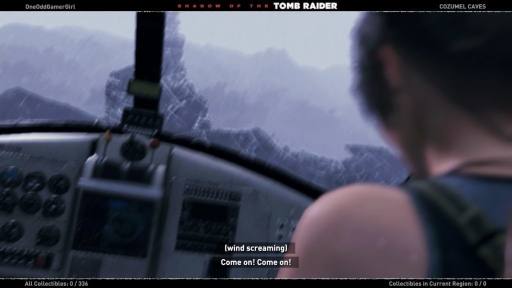 Lara flying a plane, image shows subtitles and captions.