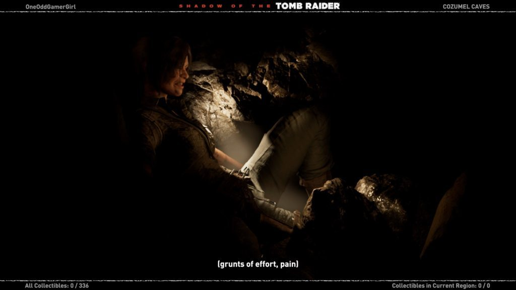Lara trapped in tunnel, image showing the game's captioning.