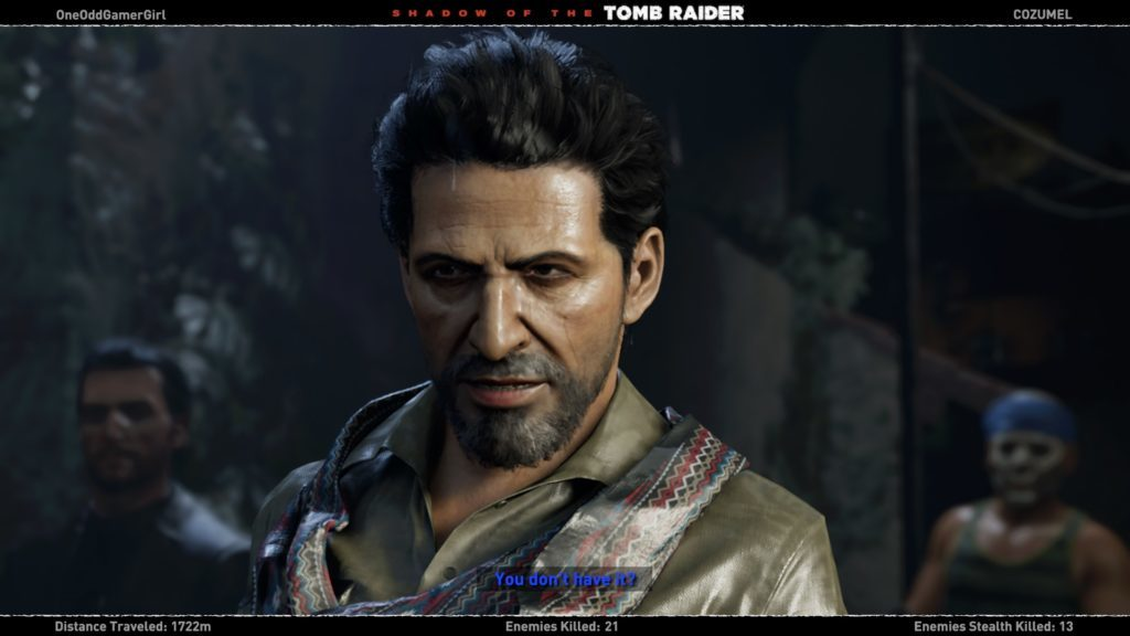 Cutscene with enemy leader showing hard to read blue subtitles.