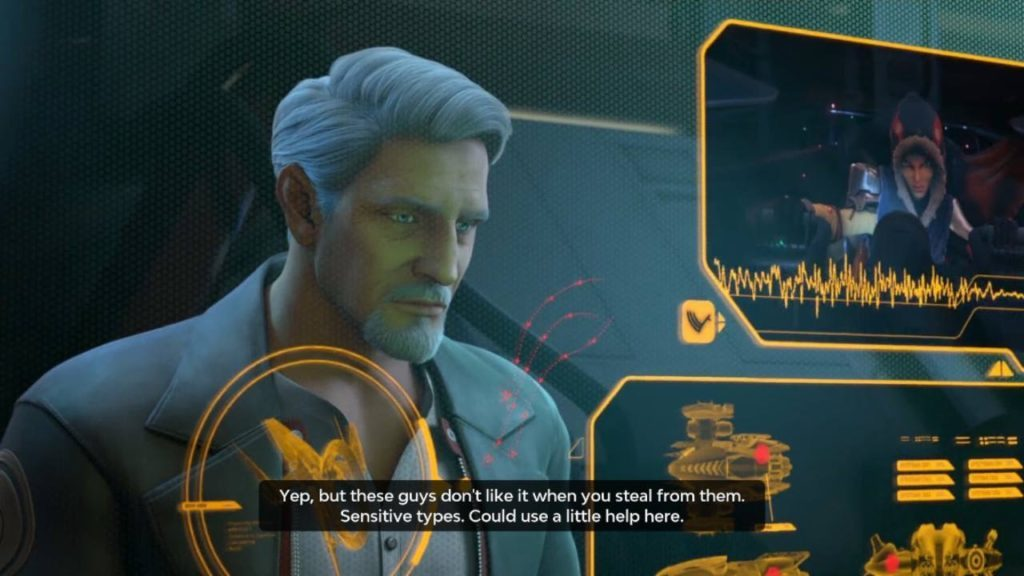 Cutscene with two characters talking over video channel