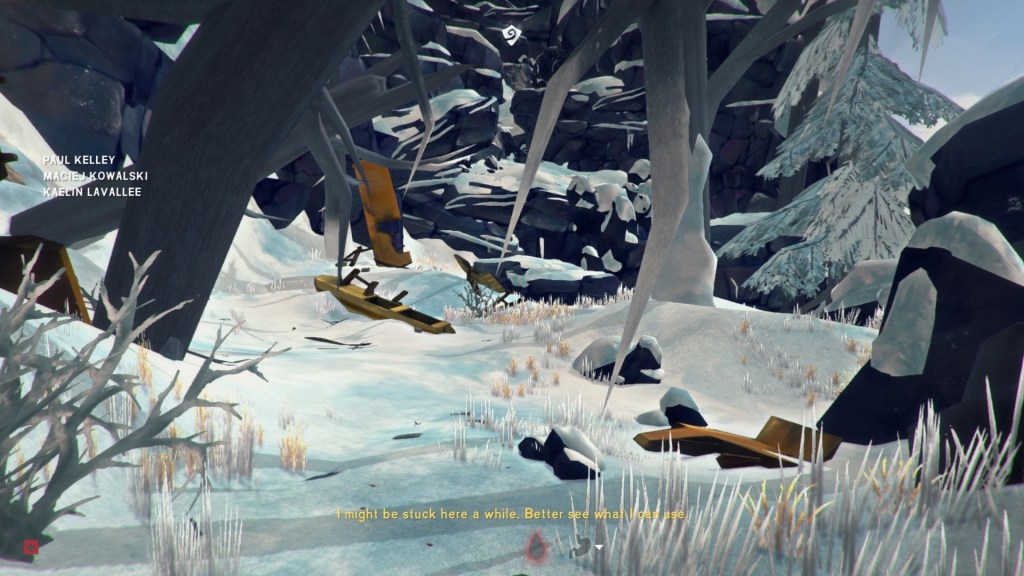 Snowy scene with trees and a cliff in the background, showing more yellow illegible subtitles.