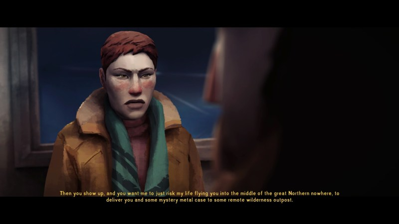 Cutscene with female character showing dialogue subtitles with no speaker labels.