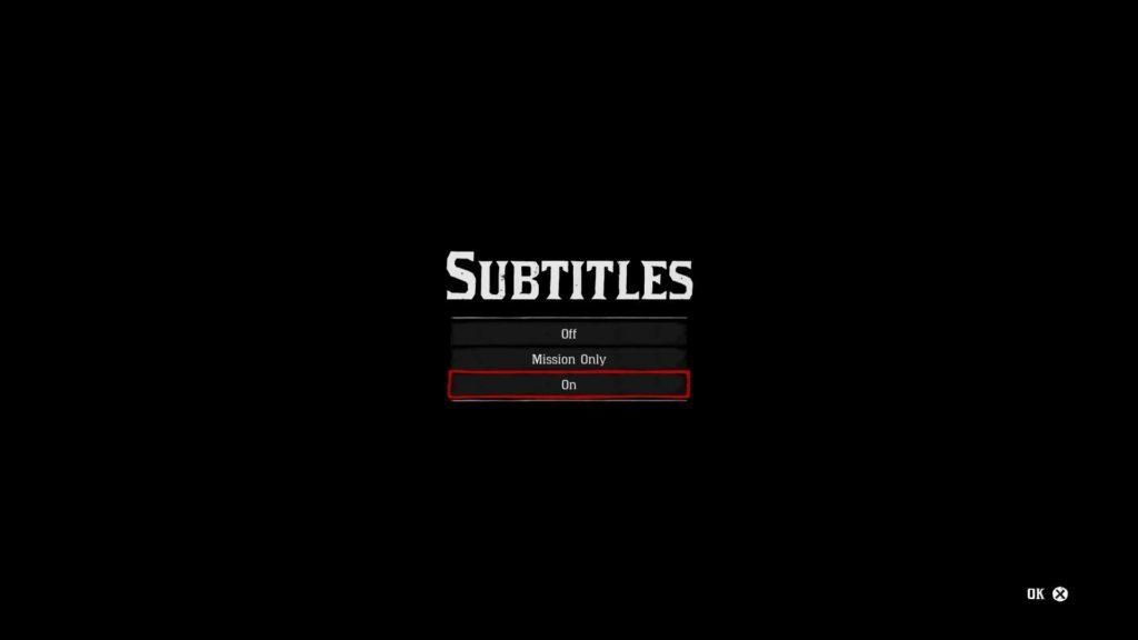 Subtitle toggle screen