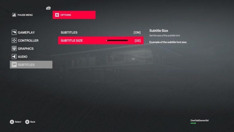 Subtitle options screen