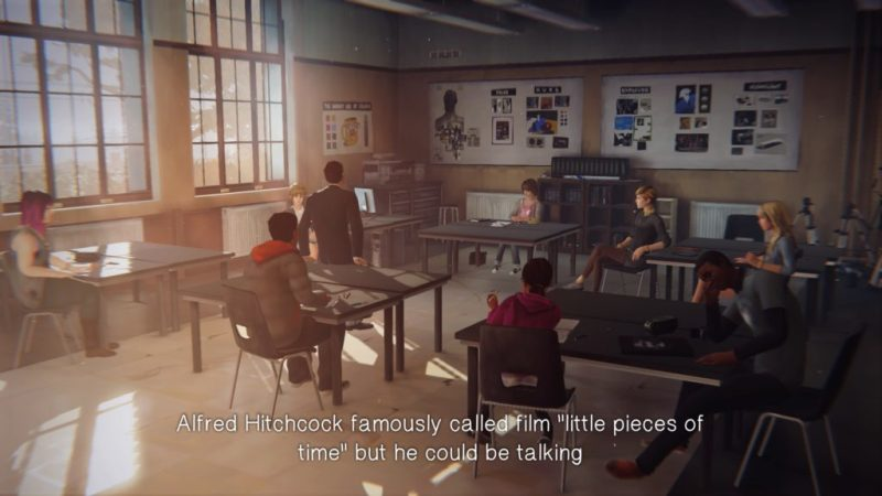 Wide view of teacher talking to entire class, subtitles show no speaker labels.