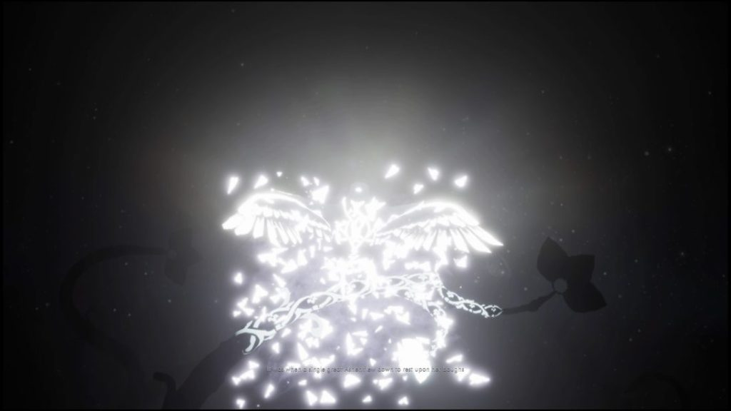 Bright white and glowing bird flying with illegible subtitle text.