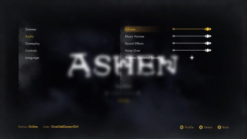 Ashen audio options with volume sliders