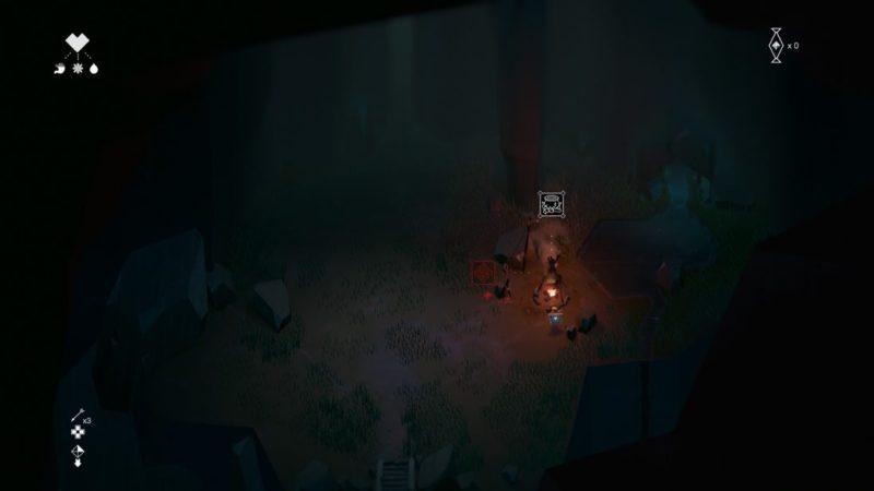 Burning campfire inside dark cave, showing minimal UI.